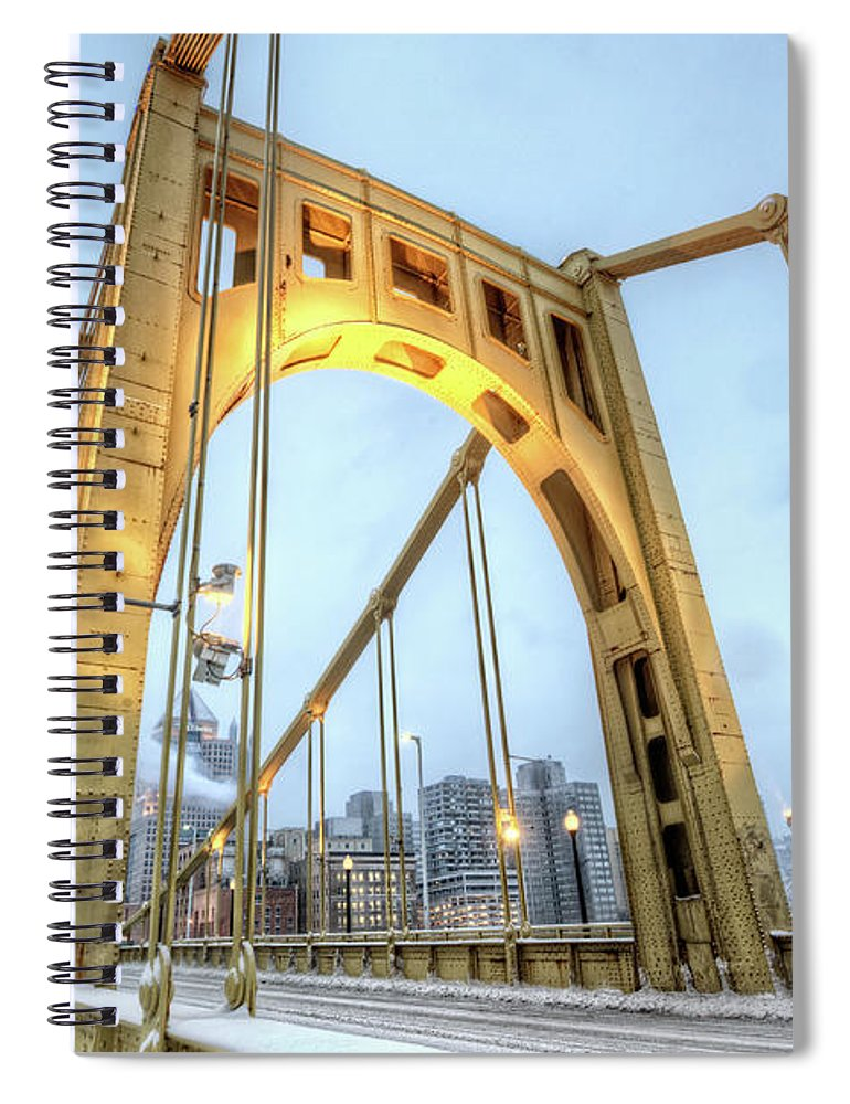 Arch Spiral Notebook featuring the photograph Roberto Clemente Bridge by Hdrexposed - Dave Dicello Photography
