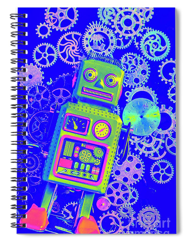 Retro Spiral Notebook featuring the photograph Robot Reboot by Jorgo Photography - Wall Art Gallery