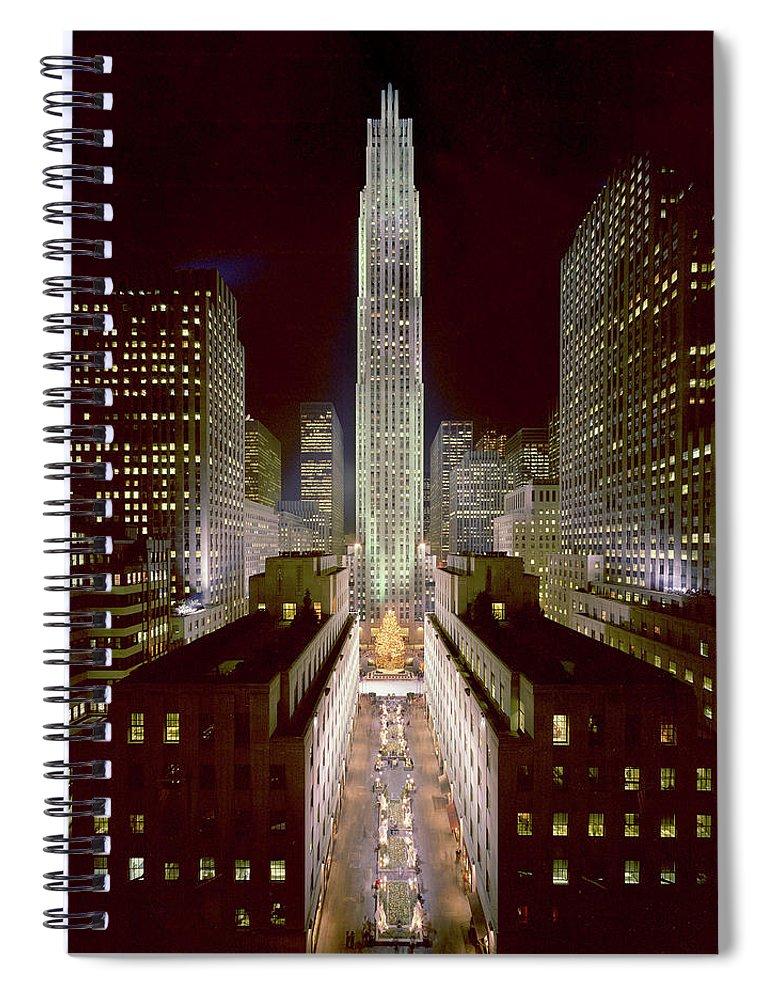 1980-1989 Spiral Notebook featuring the photograph Rockefeller Center, Manhatten, At by Thorney Lieberman