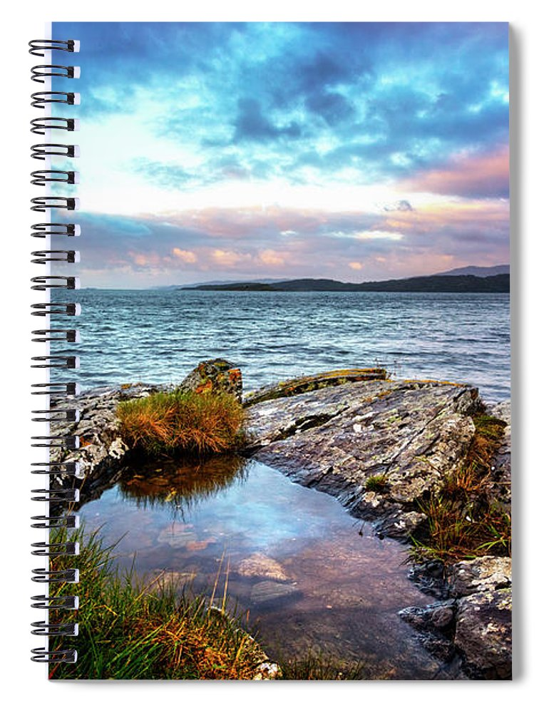 Clouds Spiral Notebook featuring the photograph Rocky Pools Of Salty Sea by Debra and Dave Vanderlaan
