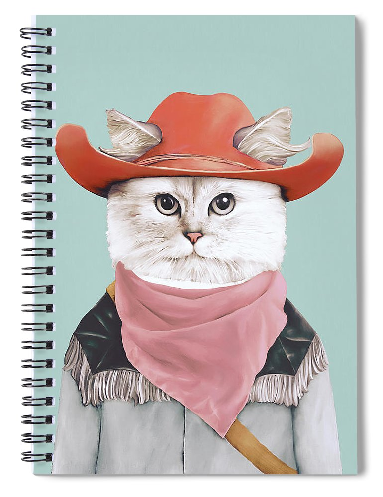 Rodeo Cat Spiral Notebook featuring the painting Rodeo Cat by Animal Crew