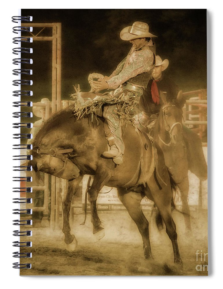 Rodeo Rider Bronco Busting Spiral Notebook featuring the digital art Rodeo Rider Bronco Busting Sepia One by Randy Steele