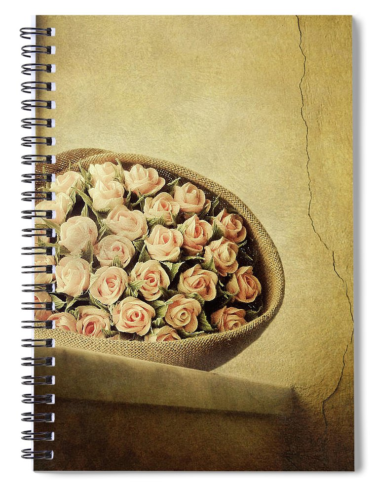 Fragility Spiral Notebook featuring the photograph Roses On Window by Marco Misuri