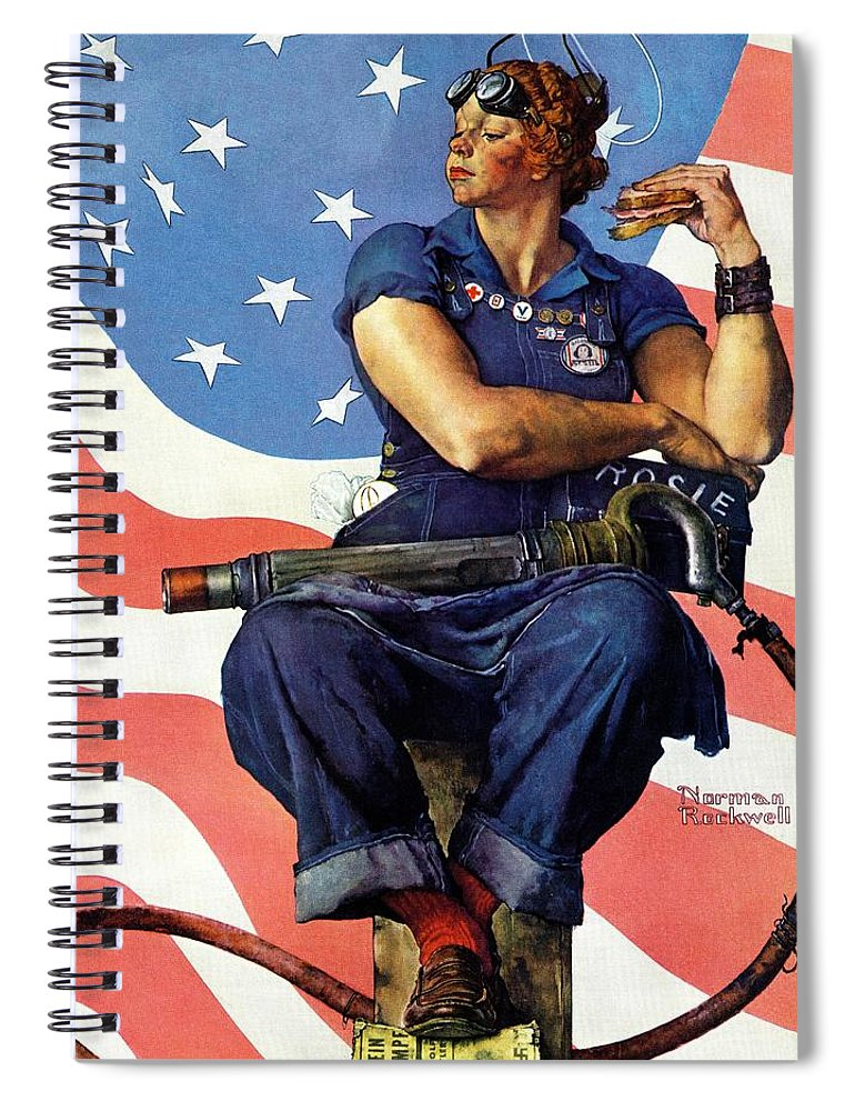 Factories Spiral Notebook featuring the drawing Rosie The Riveter by Norman Rockwell