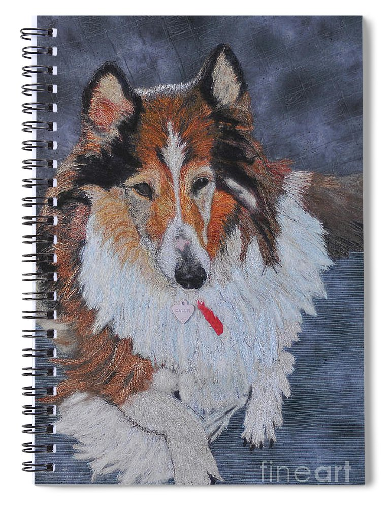 Rough Collie Spiral Notebook featuring the tapestry - textile rough Collie by Dolores Fegan
