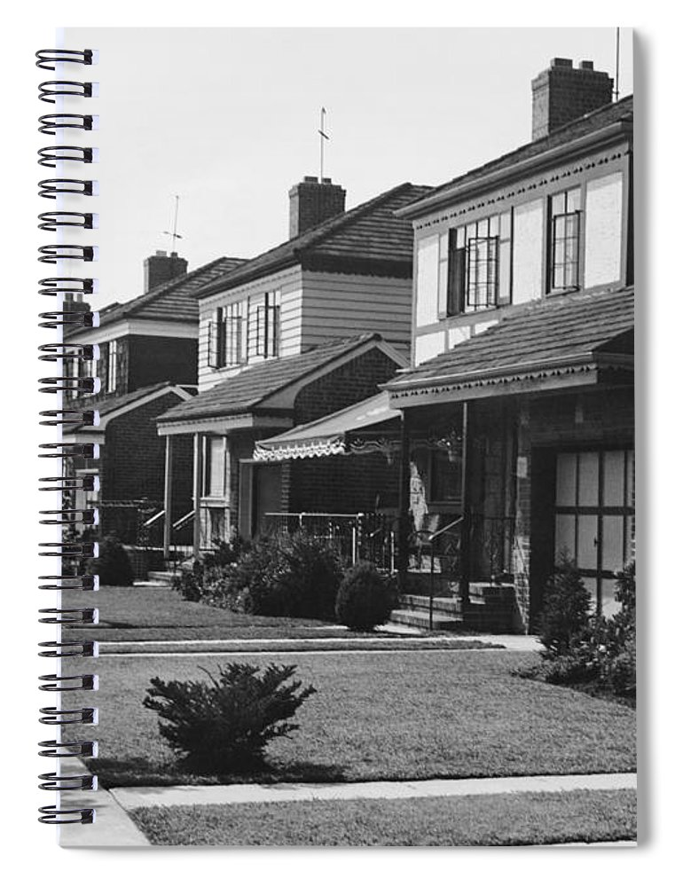 1950-1959 Spiral Notebook featuring the photograph Row Of Houses by George Marks