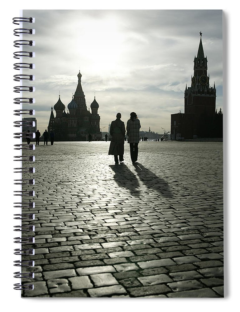 Shadow Spiral Notebook featuring the photograph Russia, Moscow, Red Square, Silhouette by Will & Deni Mcintyre