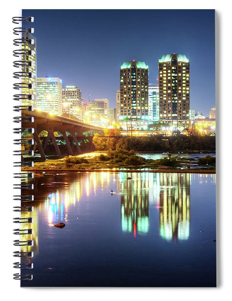 Tranquility Spiral Notebook featuring the photograph Rva Summer Night - Richmond Va On The by Sky Noir Photography By Bill Dickinson