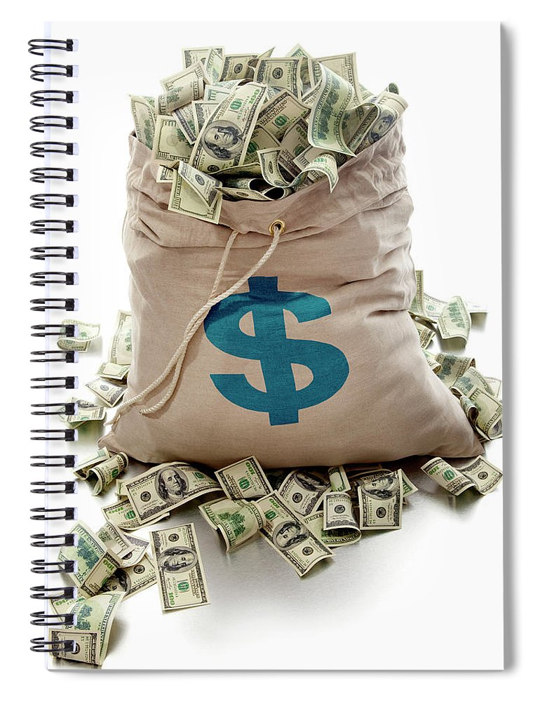 White Background Spiral Notebook featuring the photograph Sack Of Cash by John Kuczala