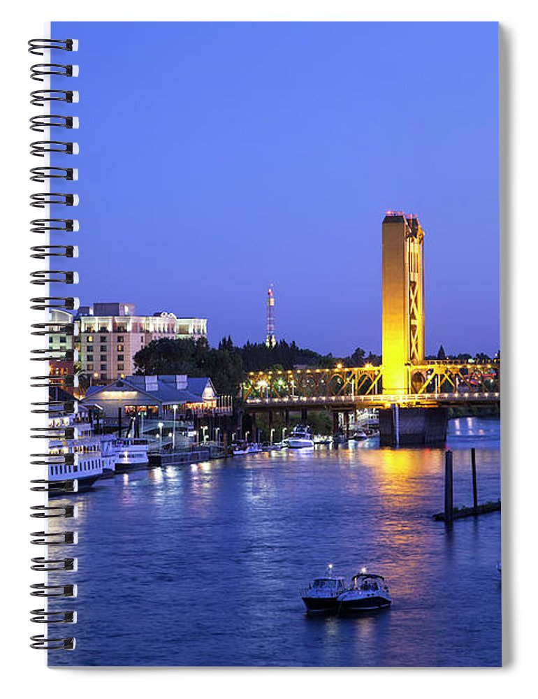 Scenics Spiral Notebook featuring the photograph Sacramento River And Tower Bridge At by Picturelake