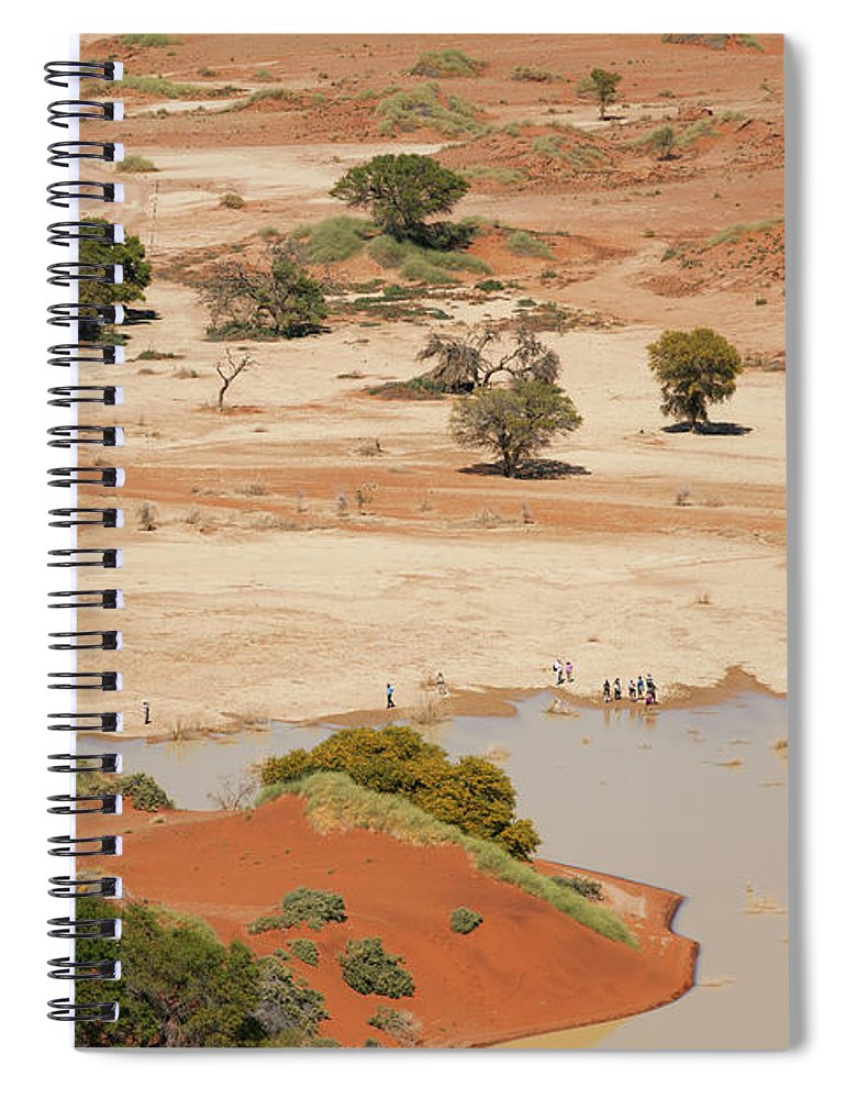 Namibia Spiral Notebook featuring the photograph Safari Tourists By Sossusvlei Pan by Bjarte Rettedal