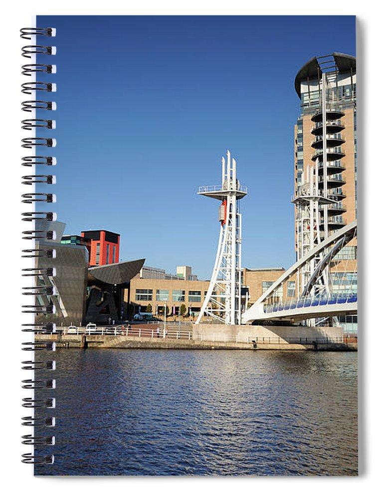 London Millennium Footbridge Spiral Notebook featuring the photograph Salford Quays, Manchester by Chrishepburn