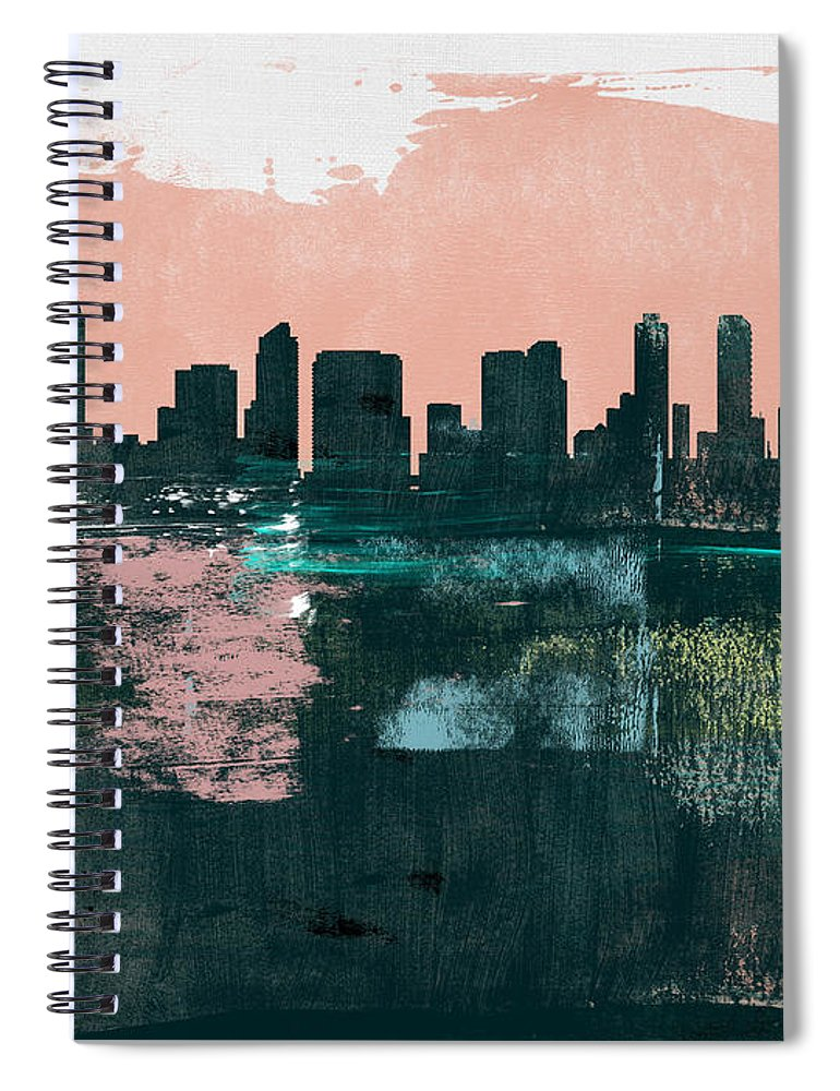 San Diego Spiral Notebook featuring the mixed media San Diego Abstract Skyline I by Naxart Studio