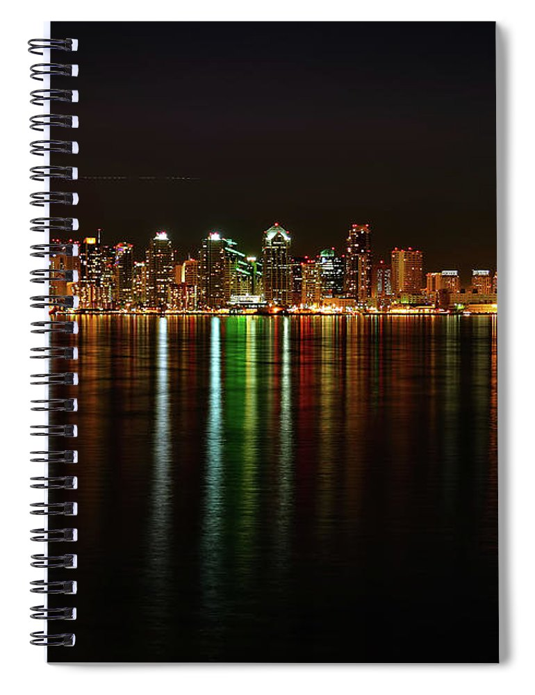 California Spiral Notebook featuring the photograph San Diego Skyline From Harbor Island by David Toussaint