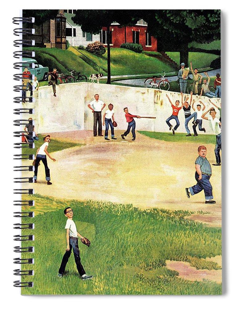 Baseball Spiral Notebook featuring the drawing Sandlot Homerun by John Falter