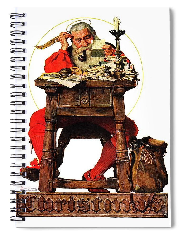 Christmas Spiral Notebook featuring the drawing Santa At His Desk by Norman Rockwell