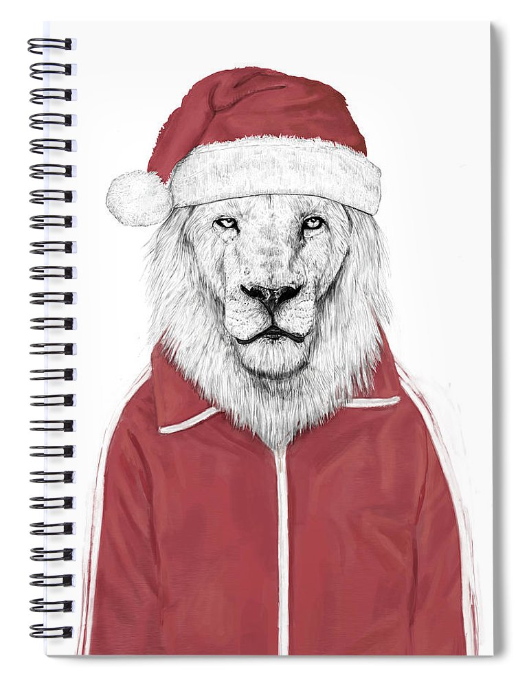 Lion Spiral Notebook featuring the mixed media Santa Lion by Balazs Solti