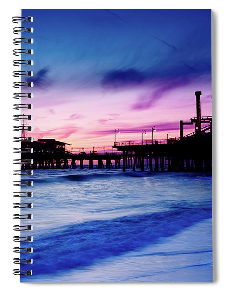 Commercial Dock Spiral Notebook featuring the photograph Santa Monica Pier With Ferris Wheel by Pawel.gaul