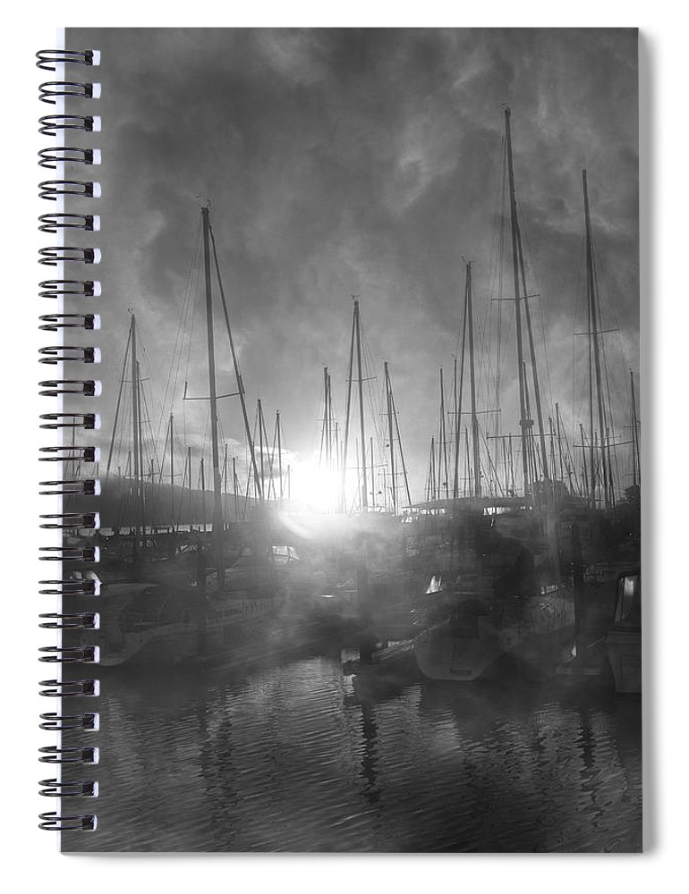 Sausalito Spiral Notebook featuring the photograph Sausalito California Mystical Magical Harbor Sunrise by Betsy Knapp