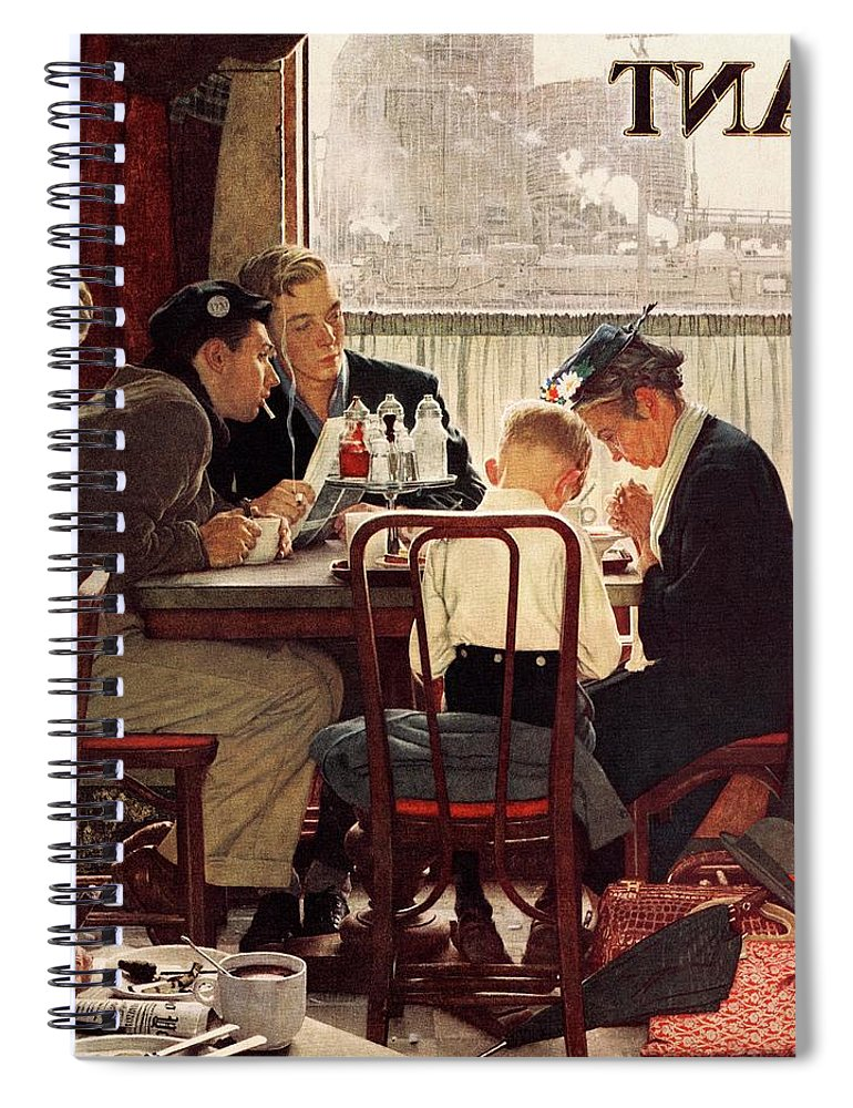 Eating Spiral Notebook featuring the drawing Saying Grace by Norman Rockwell