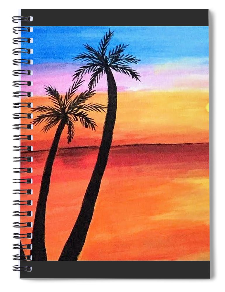 Canvas Spiral Notebook featuring the painting Scenary by Aswini Moraikat Surendran