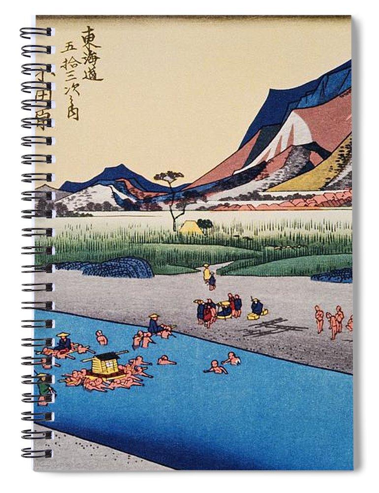 Grass Family Spiral Notebook featuring the digital art Scenery Of Odawara In Edo Period by Daj