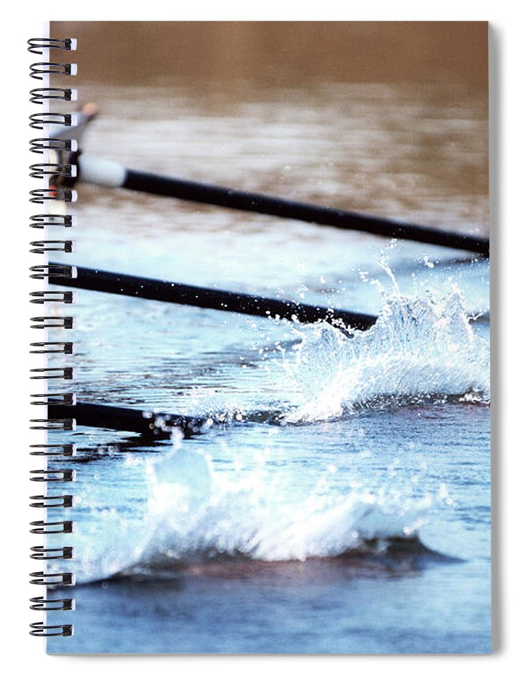 Sport Rowing Spiral Notebook featuring the photograph Sculling Team Rowing On Water by Robert Llewellyn