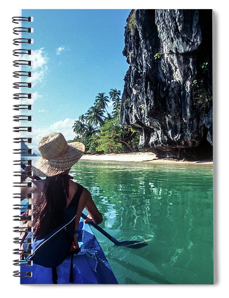 Southeast Asia Spiral Notebook featuring the photograph Sea Kayaking by John Seaton Callahan
