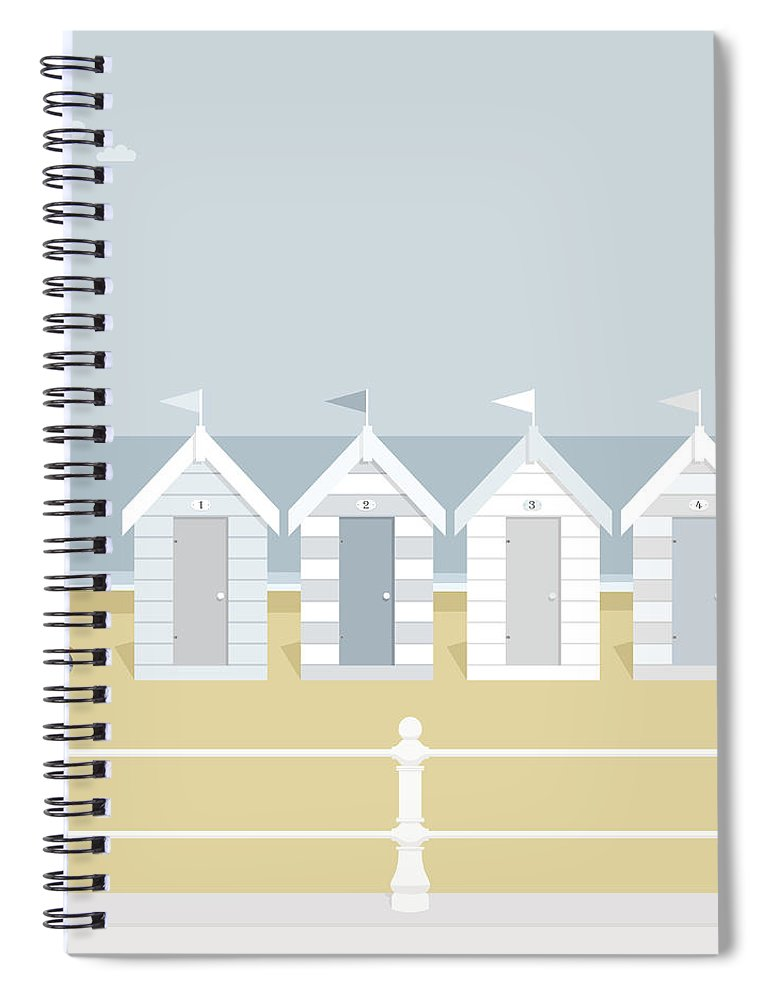 Scenics Spiral Notebook featuring the digital art Seagull Waiting On The Beach Goers To by Myillo