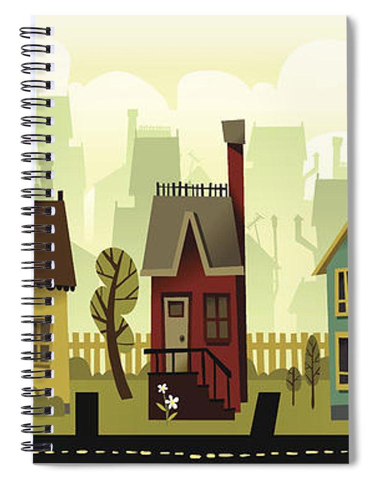 Grass Spiral Notebook featuring the digital art Seamless Neighborhood by Doodlemachine