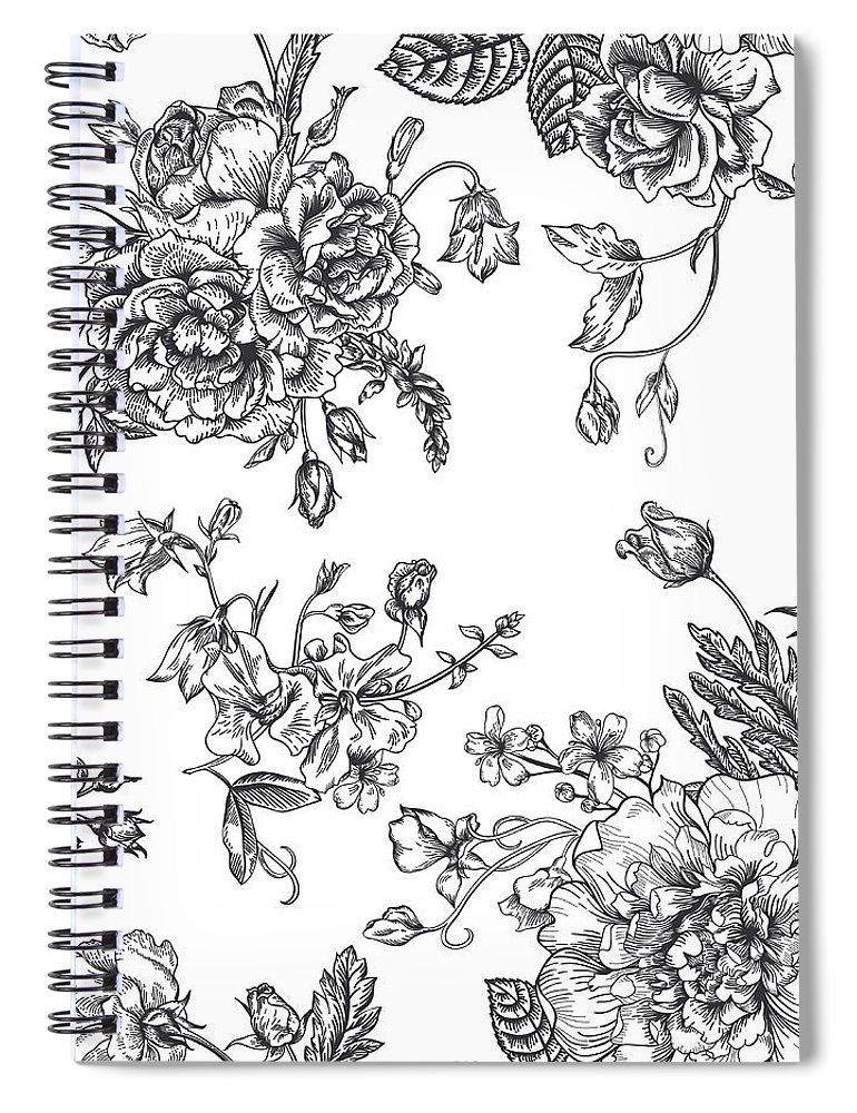 Art Spiral Notebook featuring the digital art Seamless Pattern With Bouquet Of by Nata slavetskaya