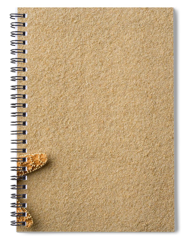 Empty Spiral Notebook featuring the photograph Seashell - Starfish On Beach by Flamingpumpkin