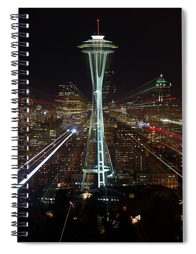 Laser Spiral Notebook featuring the photograph Seattle Skyline Laser Show by Jonkman Photography