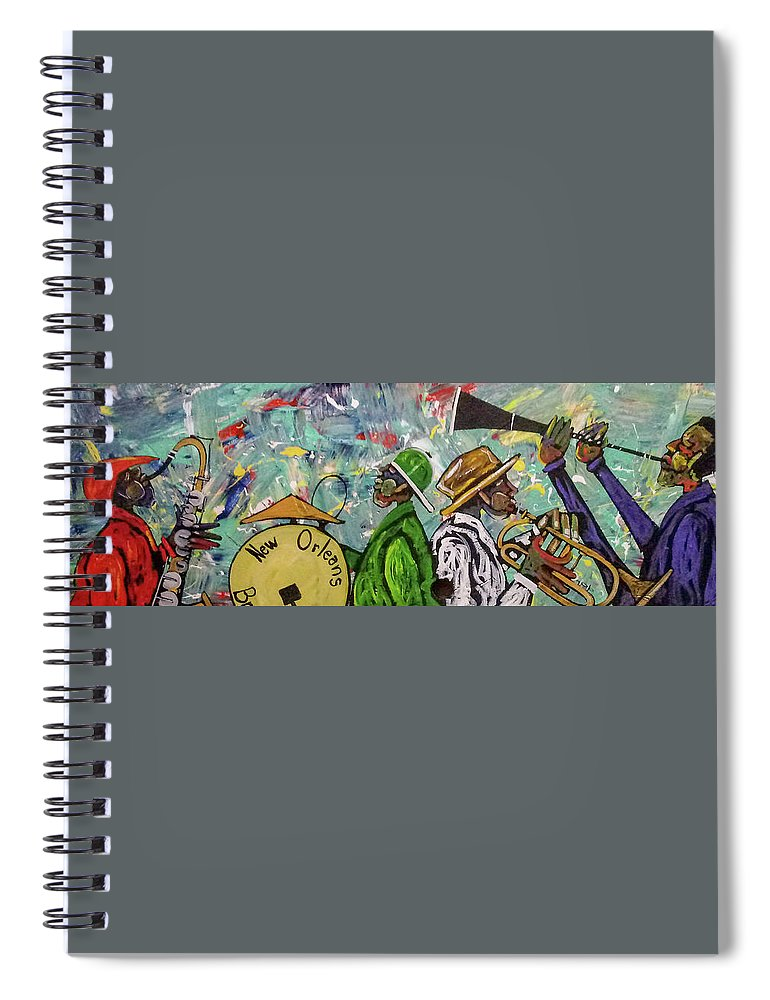 Jazz Spiral Notebook featuring the painting Second Line 13 by Guilbeaux Gallery