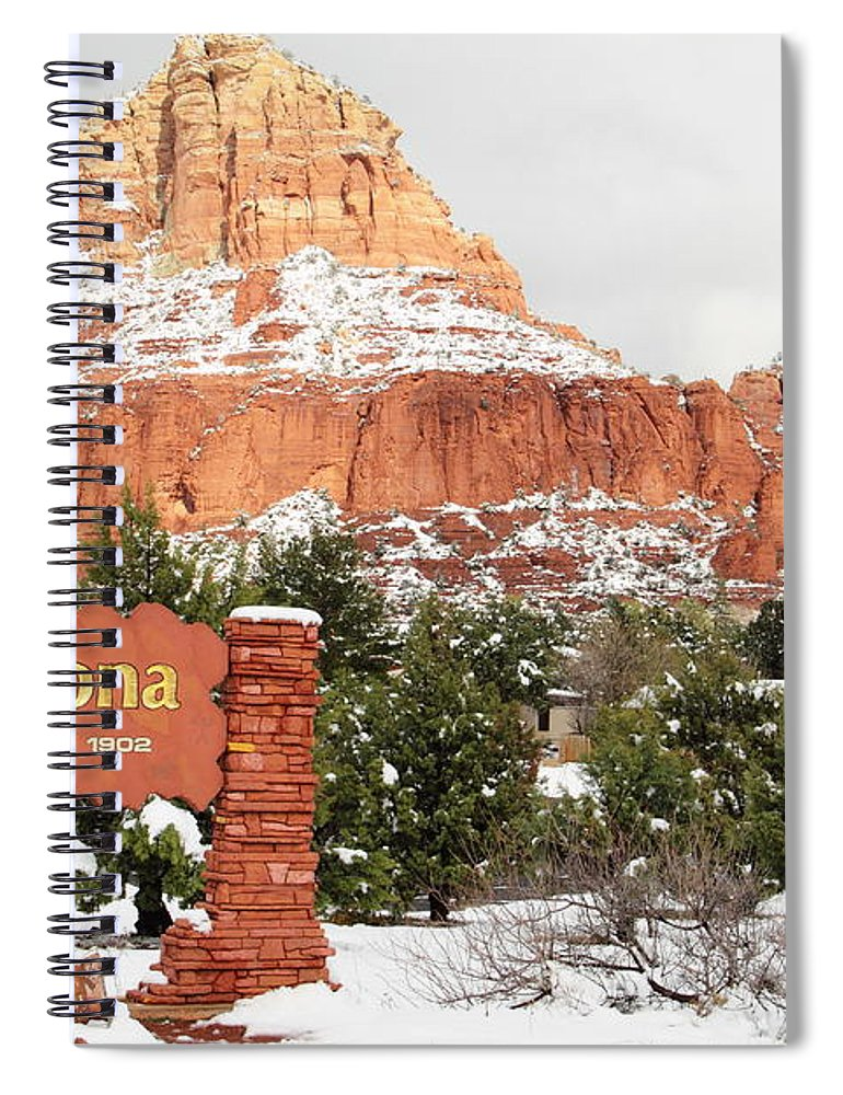 Scenics Spiral Notebook featuring the photograph Sedona Red Rock Sign Snow by Sassy1902
