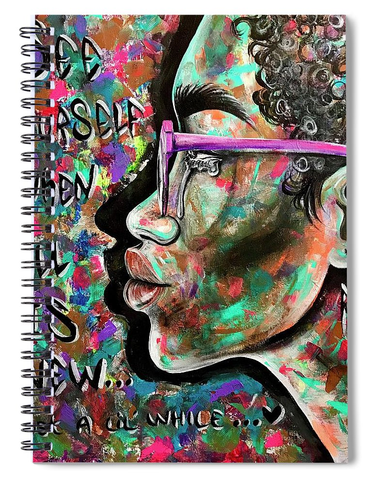 Depressed Spiral Notebook featuring the painting See yourself when all is new by Artist RiA
