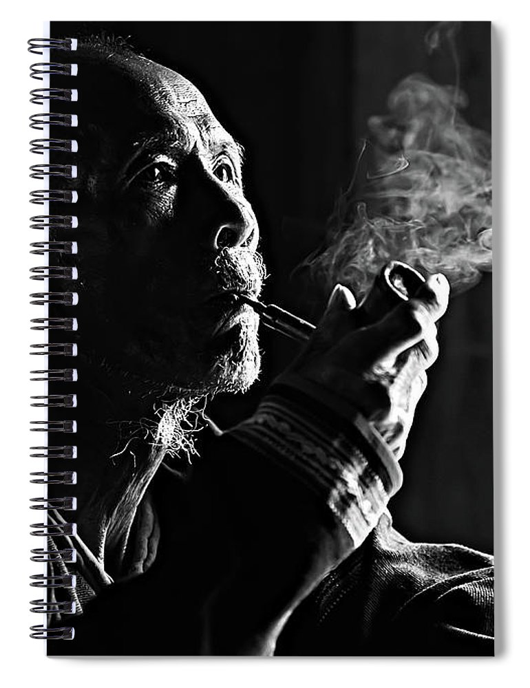 Asian And Indian Ethnicities Spiral Notebook featuring the photograph Senior Man Smoking Pipe, Vietnam by Tran Anh Linh