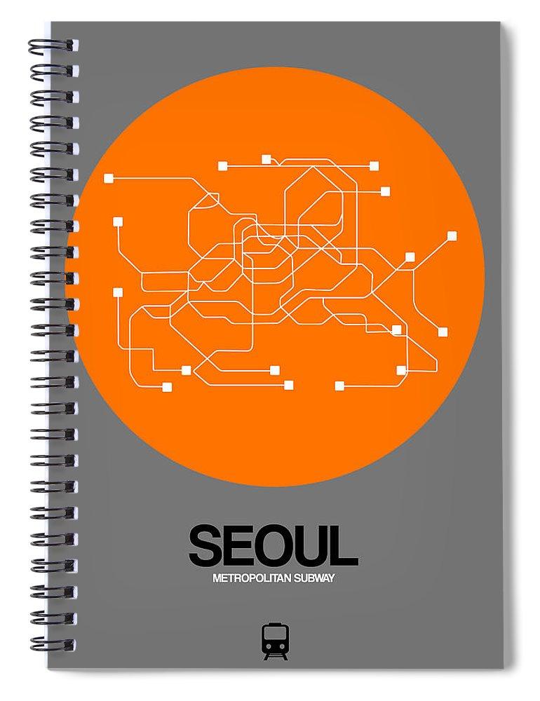 Vacation In Korea Spiral Notebook featuring the digital art Seoul Orange Subway Map by Naxart Studio