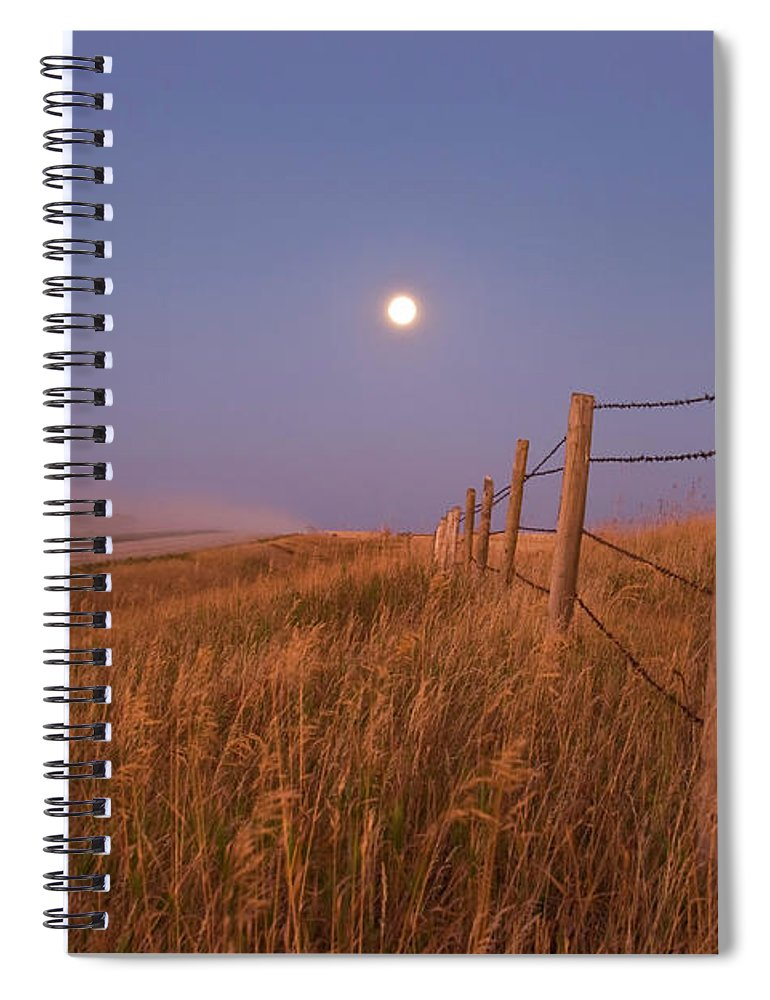 Tranquility Spiral Notebook featuring the photograph September 15, 2008 - Harvest Moon Down by Alan Dyer/stocktrek Images