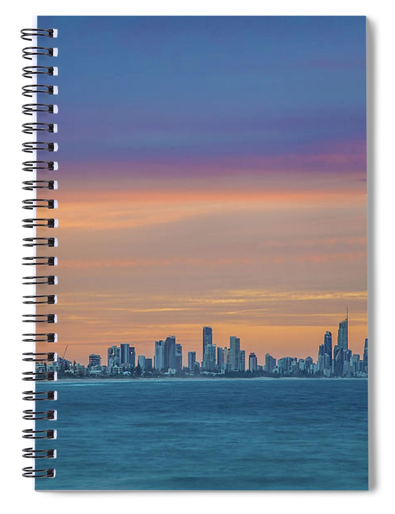 Gold Coast Skyline Spiral Notebook featuring the photograph Serene And Magical by Az Jackson