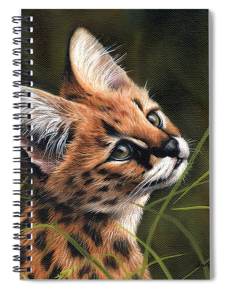 Kitten Spiral Notebook featuring the painting Serval Kitten by Sarah Stribbling