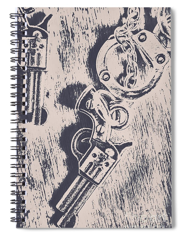 Security Spiral Notebook featuring the photograph Shackled To The Law by Jorgo Photography - Wall Art Gallery