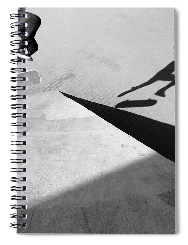 Shadow Spiral Notebook featuring the photograph Shadow Of Skateboarder by Mgs