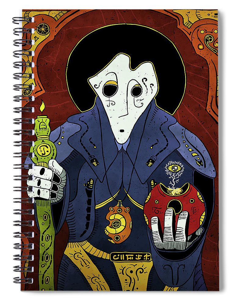 Shaman Spiral Notebook featuring the painting Shadow Priest by Sotuland Art