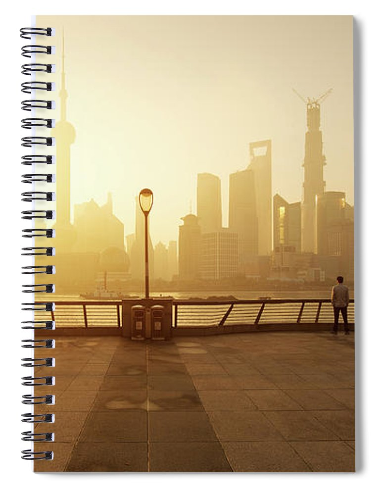 Tranquility Spiral Notebook featuring the photograph Shanghai Sunrise At Bund With Skyline by Spreephoto.de
