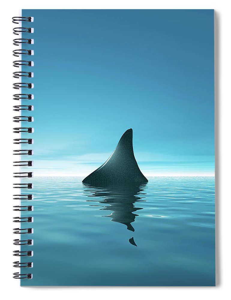 Risk Spiral Notebook featuring the digital art Shark Waiting In Th Calm Blue Sea by Artpartner-images