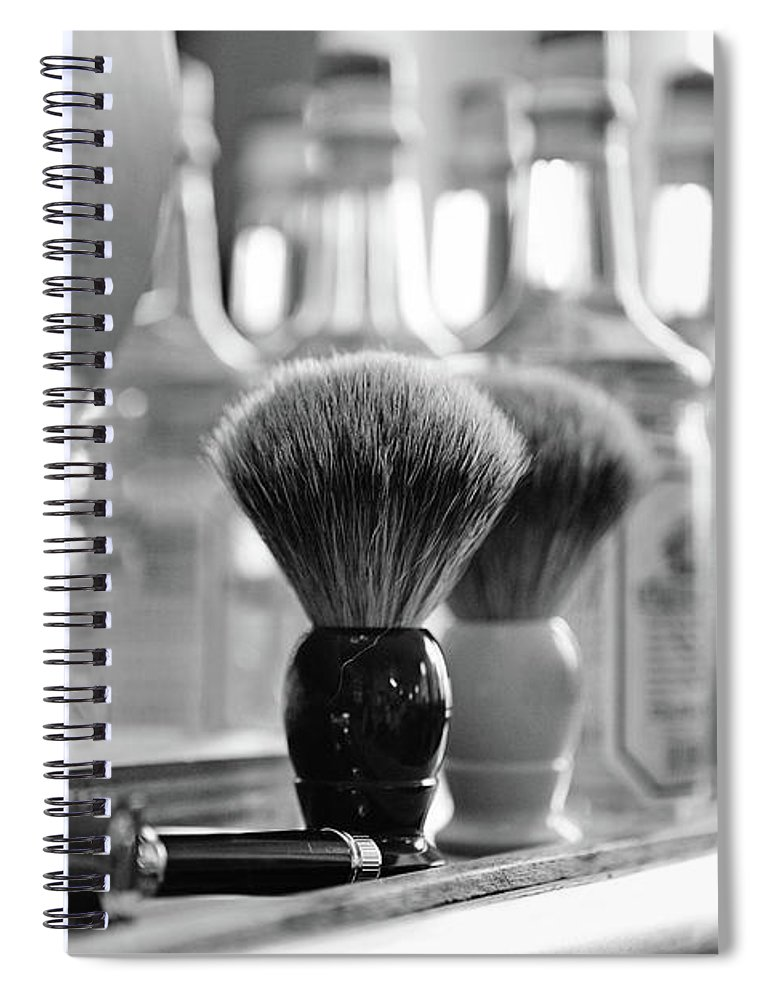Office Spiral Notebook featuring the photograph Shaving Brushes At Barbershop by Lorado
