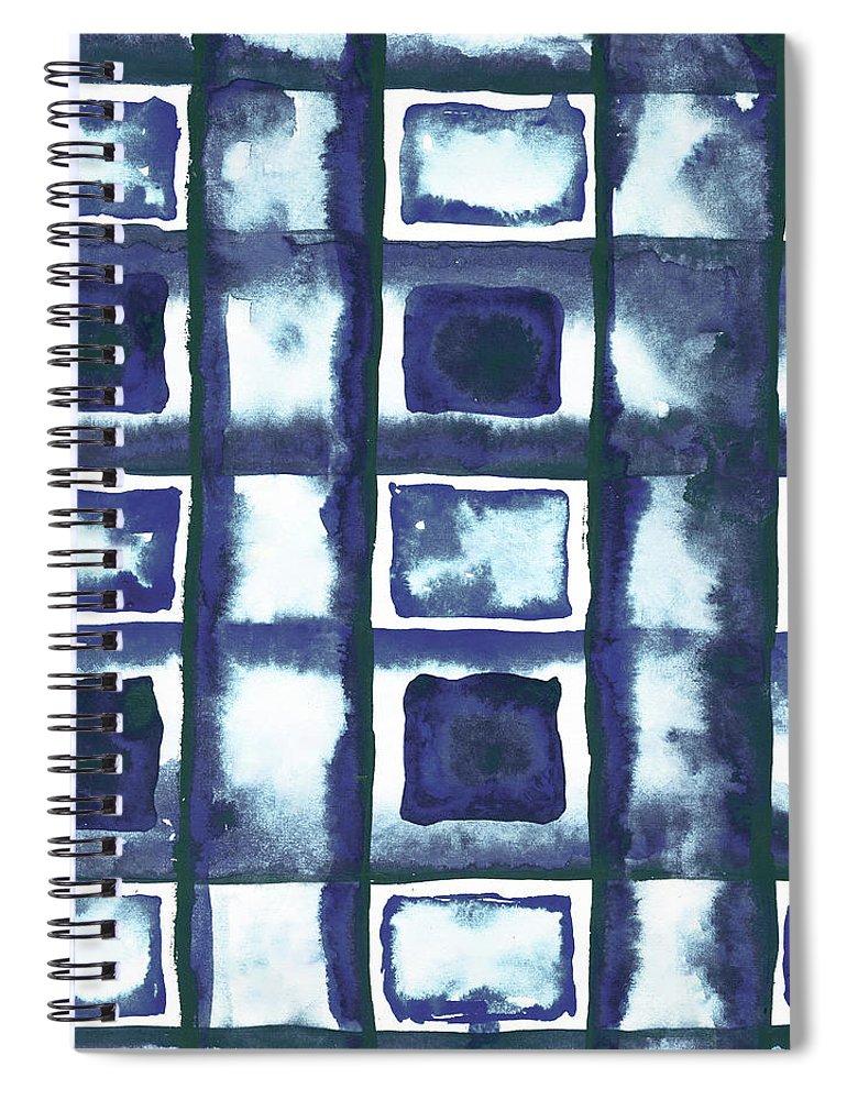 Shibori Spiral Notebook featuring the mixed media Shibori Box Pattern II by Elizabeth Medley