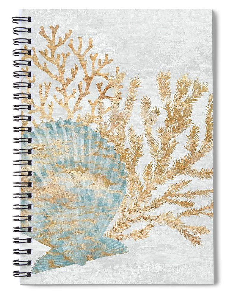 Watercolor Spiral Notebook featuring the painting Shimmering Shells IIi - Blue by Paul Brent