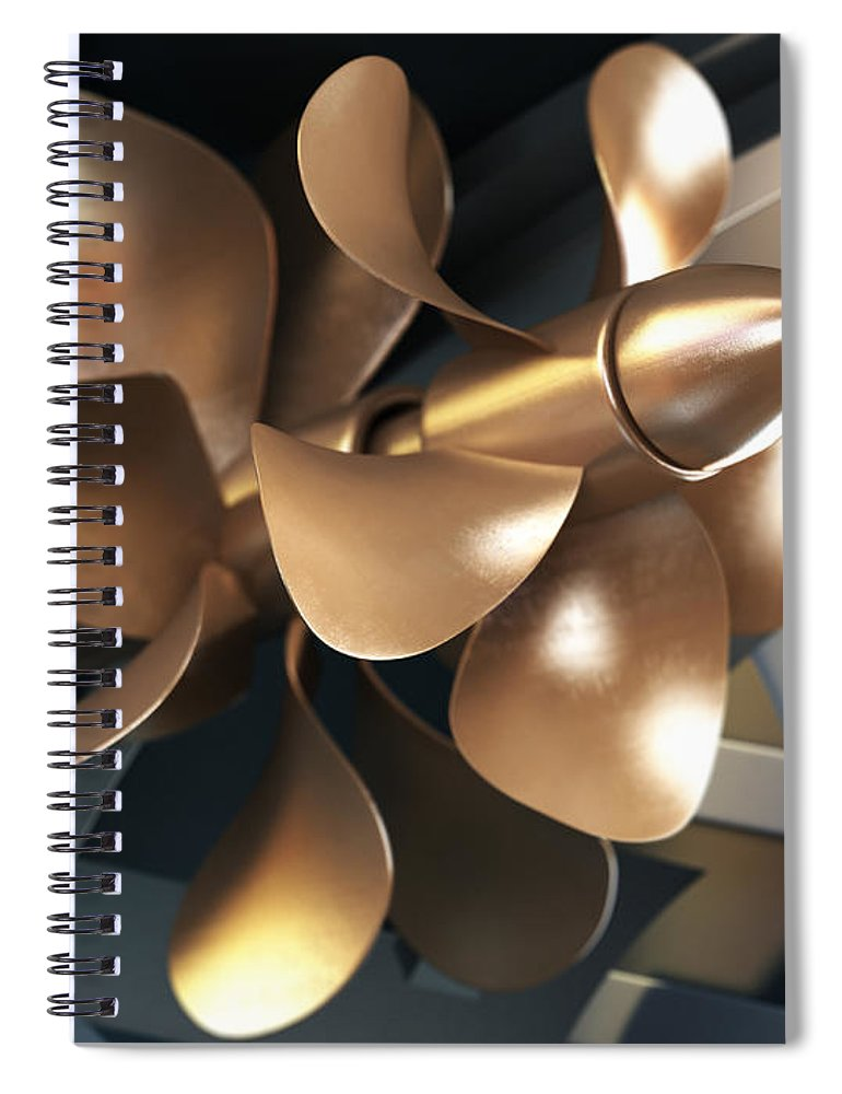 Engine Spiral Notebook featuring the photograph Ship Propeller by Adventtr